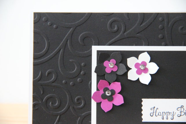 3 Embossed Birthday Cards Handmade Embellished 40th Flower Card Greeting