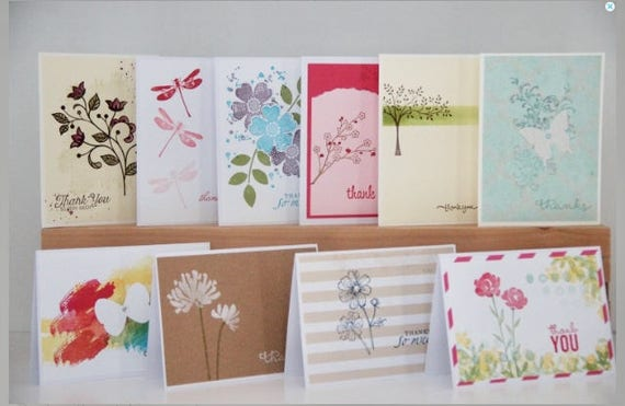 10 Handmade Thank You Cards Assortment Set Of Thank You Etsy