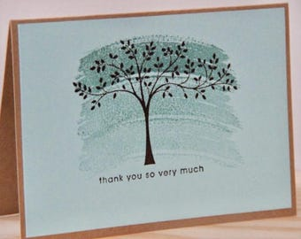 5 Tree Thank You Cards. Thank you Greeting Card Set. Kraft Thank You Cards. Blank Thank You Card. Handmade Tree Thank You Cards. Blue Cards
