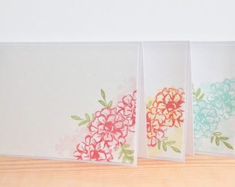6 Blank Greeting Cards.  Handmade Flower Greeting Cards. Blank Card Set. Any Occasion Cards.  Paper Handmade Cards