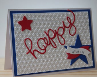 4th of July Card. Blank Patriotic Card.  Handmade Happy 4th of July Card. Embossed Star Card.  Red, white, and blue America Card.