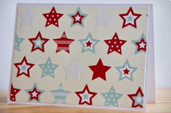 12 Patriotic Cards. Glitter Star Card Set. Blank Red White and Blue Note Cards for Veteran's Day