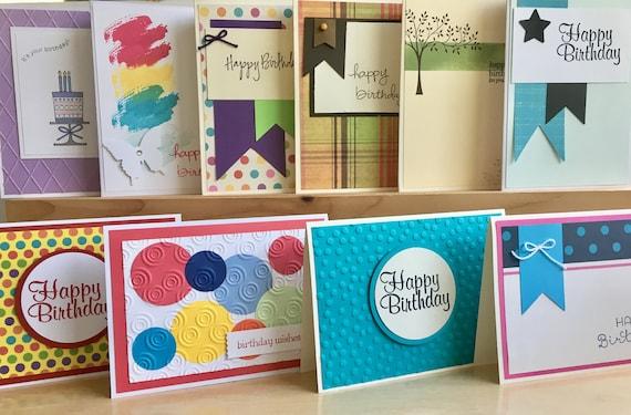 10 Handmade Birthday Card Set Blank Birthday Card Assortment Etsy