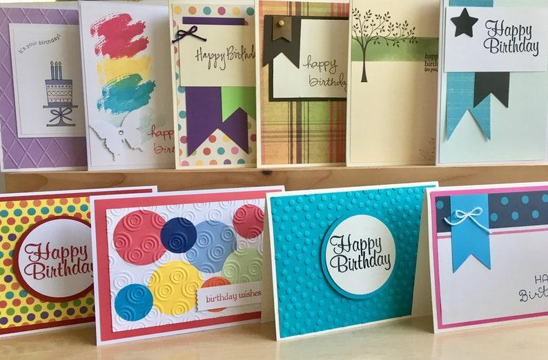 10 Handmade Birthday Card Set Blank Assortment
