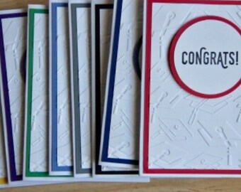 Graduation Card. Handmade Embossed Graduation Cap Card. Congrats Cards. Congratulations Card. School Color Graduation Card