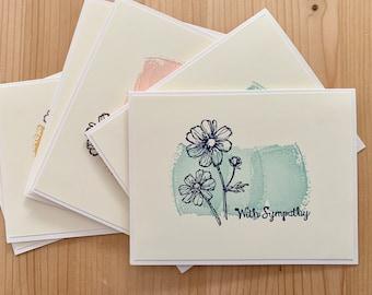 6 Handmade Sympathy Cards. Blank Sympathy Card Set. Condolence Cards