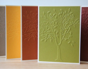 5 Embossed Tree cards. Fall Tree Card Set. Autumn note cards.  Tree Stationery. Thanksgiving Cards.  Tree Gift. Blank Tree Cards