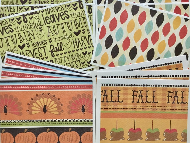 12ct Fall Note Cards, Assortment Set. Thanksgiving Cards. Blank Cards for Thanksgiving. Variety Set of Thanksgiving Cards