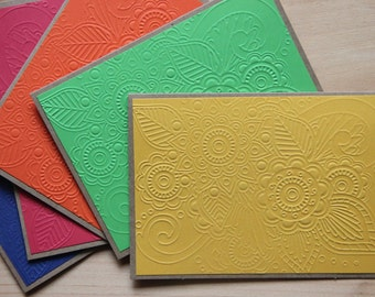 5 Embossed Greeting Cards.  Henna, Embossed Cards.  Embossed Note Cards. Kraft paper Cards. Embossed Stationery. Blank Note Cards