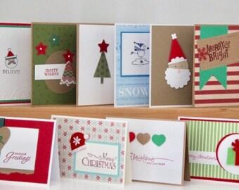 10 Christmas Cards. Handmade Christmas Card Set. Christmas Greeting Card Assortment. Blank Christmas Cards. Holiday Greeting Cards