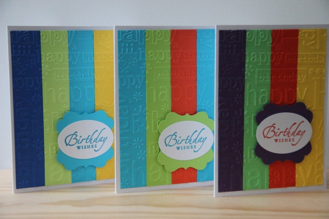 10 Embossed Birthday Cards Handmade Set Of Greeting Unisex Bulk Blank Masculine