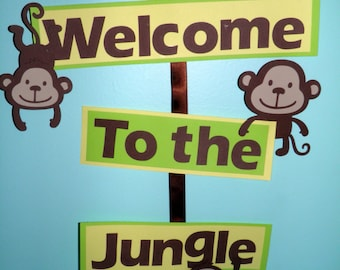 Monkey, Jungle, Birthday Party Welcome Sign