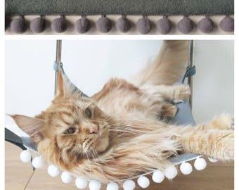 Etonnant Moss Green Cat Hammock With Grey Pom Pom For Under Chairs