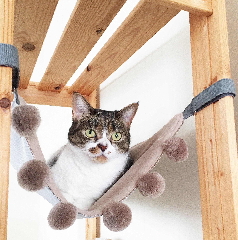 Sandy Cat Hammock For Under Chair With Pom Pom