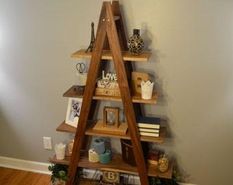Cascade Ladder Shelf, Ladder Bookshelf, Hardwood Bookshelf