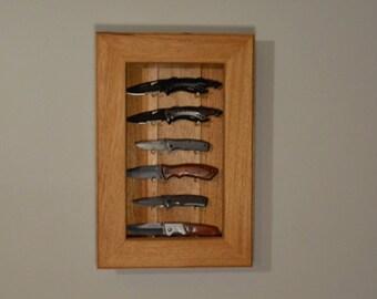 Half African Mahogany Knife Display Case