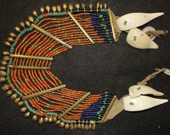 Antique Collar : Authentic, Vintage Konyak Wakching Village Tubular Brown Ancient Deomani Glass Bead Collar Necklace Brass Bar  #553