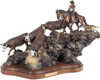 """Western Decor : James Regimbal, Bronze Sculpture, Signed, Limited Edition, 26/50. """"Cowhands"""", 1989, #590"""