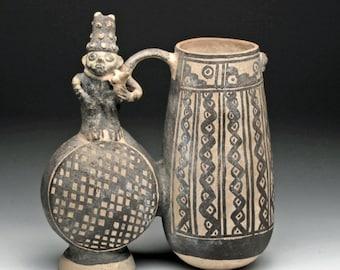 Antique Vessel : Unbelievable Chancay Double Lobed Figure Whistling Vessel #463