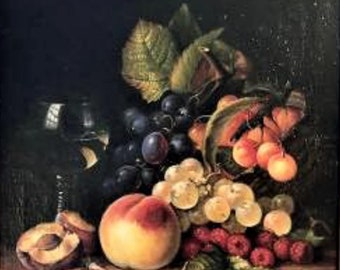 Historic Still Life Oil Painting by Edward Ladell (1821-1886), Ca 1860, # C1693