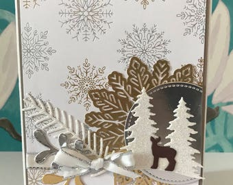 Stamping Up Spread some Christmas Cheer Deer, Trees, Snowflakes Christmas Card