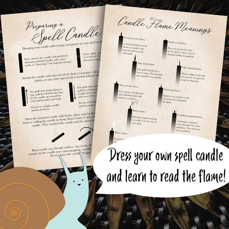 Spell Candle + Candle Flame Meaning Grimoire Pages