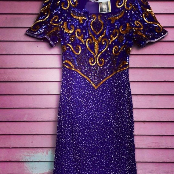 80s Laurence Kazar Beaded & Sequined Dress | LSU C