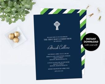 Boy FIRST COMMUNION Invitation, BAPTISM Invite, pdf Invite Template Editable Text, Printable, Navy Blue, Kelly Green, Celtic Cross, Catholic