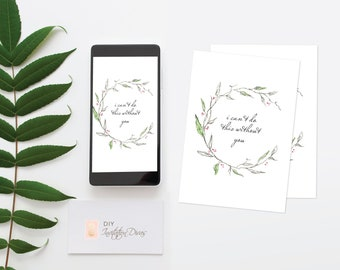 Printable Watercolor CHRISTMAS CARDS, Wreath, Personalized Bridesmaid Proposal Cards, Editable Text, Downloadable