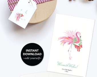 Free Gift Tag With Downloadable Holiday Card, Editable Text, Printable, Template, Watercolor Flamingo, Christmas Cards Set, Greeting Card