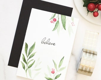 Hand Painted Watercolor CHRISTMAS CARDS, Custom Hand Lettered Calligraphy Packed in Eco Friendly Recycled Bags with a Black Envelope