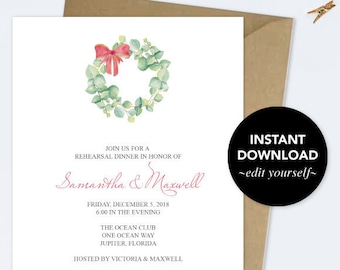 REHEARSAL DINNER INVITATION, Dinner Party Invite Template pdf, Christmas Wreath, Watercolor, Instant Download, Wedding Rehearsal Invite