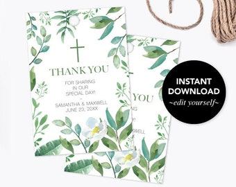 THANK YOU TAGS, Greenery First Communion, Baptism Favors, Gift Tags, Instant Download, Editable Template Favor Tags, Leaf, Wedding Favors