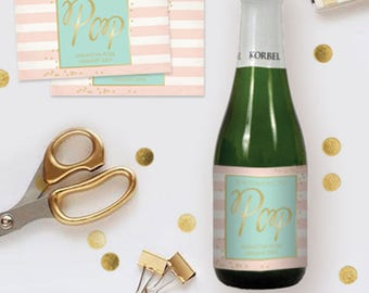 Mini Champagne Labels Baby Shower, Mini Champagne Bottle Labels Personalized, Printable She's About To Pop Labels, Customized DIY Labels