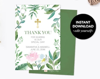 THANK YOU TAGS, Baptism Favors, Greenery First Communion, Gift Tags, Instant Download, Editable Template Favor Tags, Leaf, Wedding Favors