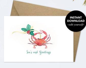 Holiday Cards, Editable Text, Thank You Card, Printable, Template, Watercolor, Christmas Card Set, Greeting Card, Xmas Card, Merry Christmas