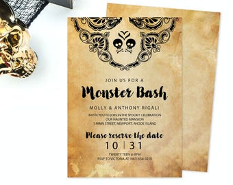 DIY Halloween Invite Template, Halloween Party, Halloween Invitation, Bachelorette Costume Party, diy Invitation, pdf Invitation Template