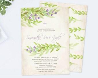Leaves Baptism Invite, Greenery, Christening Invite, Editable PDF Invitation, Garden, Botanical, Baptism Invitation, Green Gender Neutral