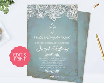 editable twins baptism invitation baptism invitation twins etsy