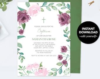 Girls Baptism Invitation, Floral Baptism Invitation, Girl Baptism, DIY Invite, Editable Template Invitation Pink Watercolor Rose and Leaf