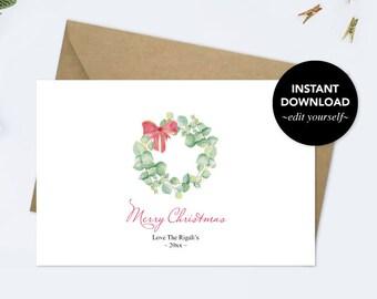 Holiday Card, Editable Text, Thank You Card, Printable, Template, Watercolor, Christmas Cards Set, Greeting Card, Xmas Card, Merry Christmas