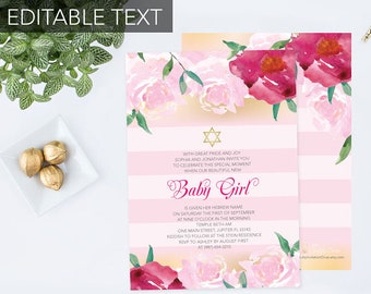 Editable Text Girls Naming Day Invite, Pink Stripes Faux Gold and Floral, Printable, Star of David Invite, Bart Mitzvah Invitation, DIY
