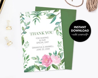 THANK YOU TAGS, Watercolor Greenery, Girl Baby Shower Gift Tags, Thank You, Instant Download, Bridal Shower Favors, Leaf, Wedding Favor Tags