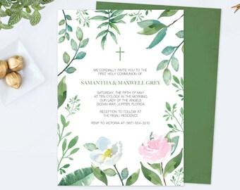 TWINS GREENERY BAPTISM Invite, Greenery First Communion, Twin Invitation, diy Invitations, Editable Template First Communion Invite, Leaf