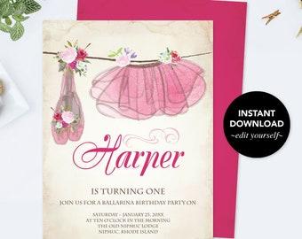 Ballerina Birthday Invitation, Ballerina Birthday, Ballerina Party, DIY Invitations, Editable Template Birthday Invitation, Invitation
