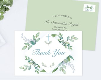 Printable Greenery Thank You Card, Instant Download Printable PDF, Green and Blue, Boy Communion or Baptism Thank You, Blue Thank Yous