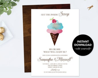 Baby Shower, GENDER REVEAL INVITATION, Ice Cream, Gender Reveal Ideas, Gender Neutral Template Instant Download, Digital, Baby Announcement