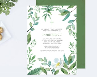 LEAVES BAPTISM INVITATION, Greenery First Communion, Boys First Communion, diy Invitations, Editable Template First Communion Invite, Leaf