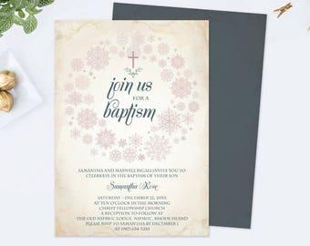 WINTER BAPTISM INVITATION Template pdf, Editable Template, Catholic Invite, Cross Invitation, Girl, diy Invites, Customizable, Pink Invite,