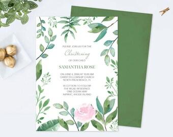 Editable Text GREENERY CHRISTENING INVITATION, Greenery First Communion, Girls Christening pdf Invites Leaf Editable Template Invite Pink